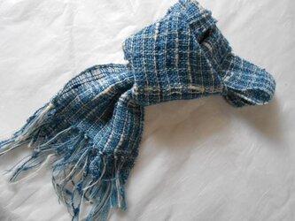 手織りミニストール(藍)の画像