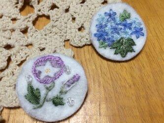 手刺繍ブローチ☆紫陽花の画像
