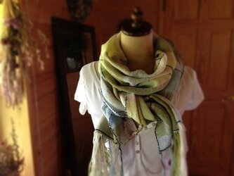 手織りストール コットン100%の画像