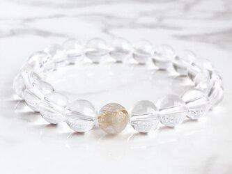 【金銭を呼び込む】パワーストーンブレスレット(ルチルクォーツ・水晶)8mm玉の画像