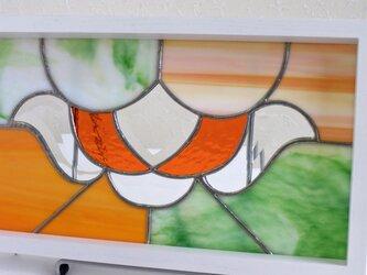 ステンドグラスパネル (淡いグリーン×オレンジ)の画像