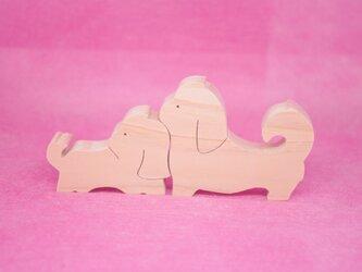 木のおもちゃ 動物組み木 仲良しシーズーの画像