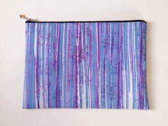 絹手染ポーチ大(15cm×21cm 縦・紫系)の画像