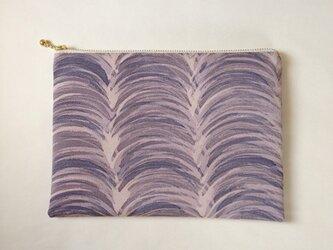 絹手染ポーチ大(15cm×21cm モクモク・紫味グレー)の画像