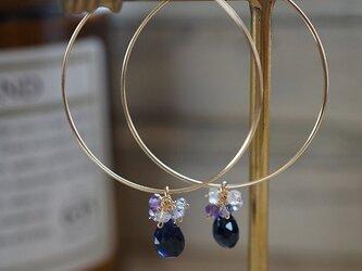 サファイヤのフープピアス*K14GF ブルー系の画像