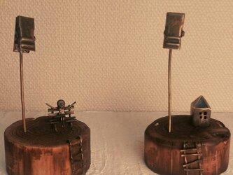木と真鍮メモスタンドの画像