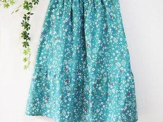 丈80 ティアードスカート ローン地に裏地付き 青緑に白花柄の画像