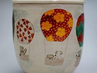 ペット専用の骨壺「夢壺」気球柄 中サイズの画像