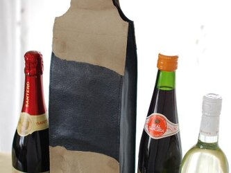 ワインのキャリーバッグ 羊皮×仔牛毛皮×焼竹の画像