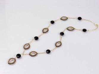 オニキスネックレス・ブラックゴールドのマーキスモチーフの画像