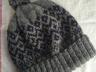 伝統柄(グレー紺)  ぽんぽん帽子の画像