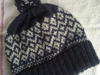 伝統柄(紺)  ぽんぽん帽子の画像