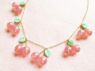 サクランボのネックレス(ピンク)の画像