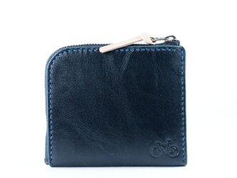L字ファスナーのポケット財布(ネイビー)の画像