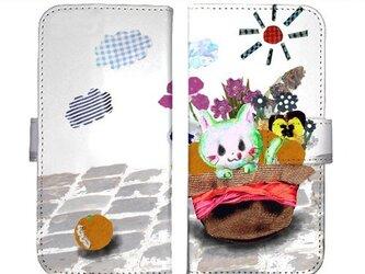 〈受注生産〉粘着式手帳型スマホケース「猫と帽子」の画像
