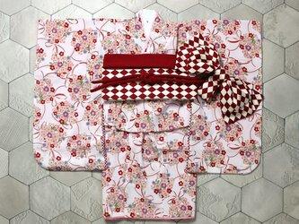 ◆七五三着物/白地に花くす玉//90-110【受注生産】の画像