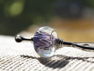 〜レース〜 蜻蛉玉のかんざし(紫)の画像