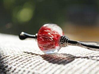 〜レース〜 蜻蛉玉のかんざし(赤)〈A-15〉の画像
