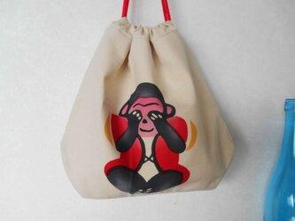 手拭いの巾着*お猿さんの画像