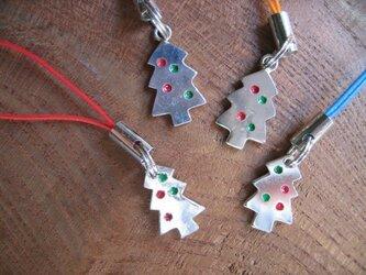 シルバークリスマスツリーストラップの画像