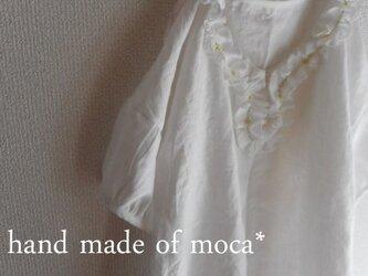 【受注製作/5.20再販売】リネン衿ぐりフリルチュニックブラウス★オフホワイトの画像