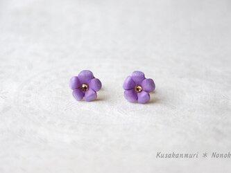 小花のレザーピアス*purpleの画像