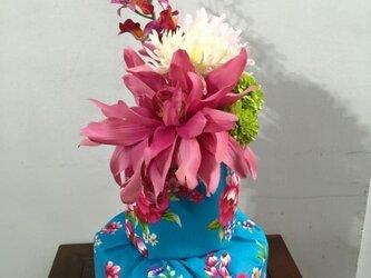 中華花布 おむつケーキ(ブルー)の画像