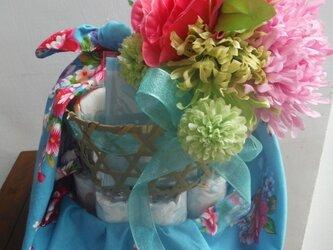 中華花布 授乳ケープ付きおむつバスケット(ブルー)の画像