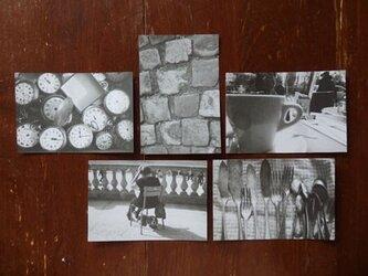 フランスポストカード5枚セット(モノクロ)の画像