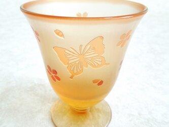 可愛いオレンジのグラス - 蝶々と桜 -の画像