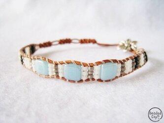 """Beading bracelet """"Flower blue""""の画像"""
