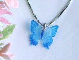 ガラスの蝶 ペンダントトップ(小さいサイズ・シルバー)の画像