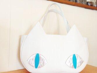 *本革*猫のトートバッグの画像