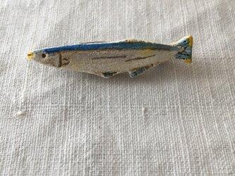 【陶土】サンマ*秋刀魚のブローチの画像