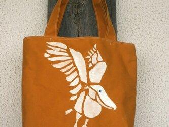 トートバッグ ハシビロコウ羽ばたきの画像
