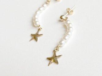 【14kgf】三日月パールと星のピアスの画像
