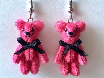 テディベアピアス ピンクの画像