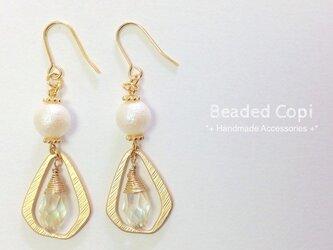 Pearl&Teardrop pierce Gold ver.の画像