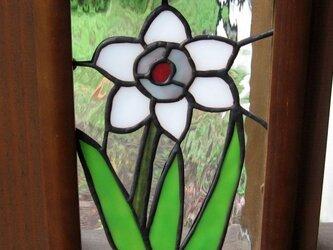 ステンドグラス 「花一輪」の額入りパネルの画像