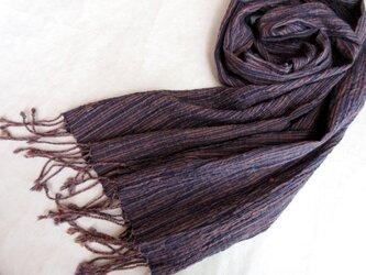 【sale】桜色の入った藍の手織りストールの画像