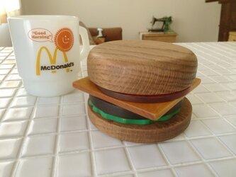 無垢材使用 ハンバーガーコースターの画像