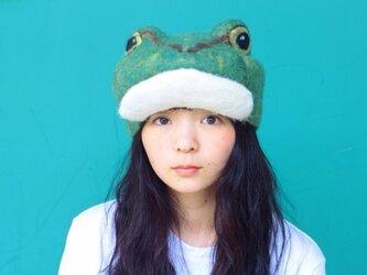 アマガエルのハンチング帽子の画像