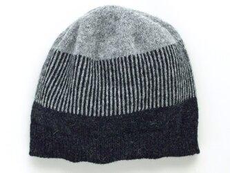 ボーダーニット帽 グレーの画像