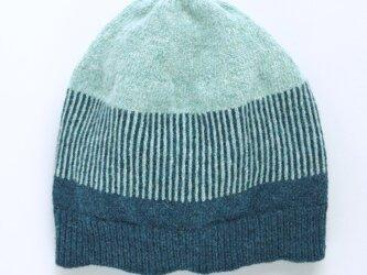ボーダーニット帽 ブルーの画像