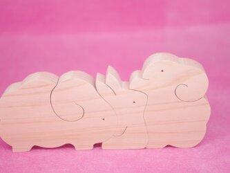 木のおもちゃ 動物組み木 ひつじとうさぎの画像