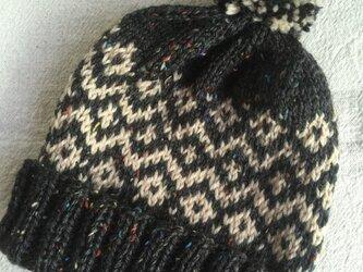 伝統柄(ネップ入り)  ぽんぽん帽子の画像