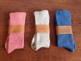 linen socks #blueの画像