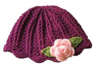 シンプル可愛い!うねうねお花ニット帽(50cm)の画像