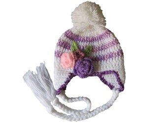 ふわふわポンポンの子供ニット帽(44cm)の画像