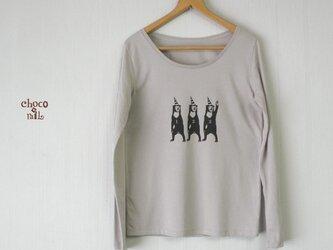 サーカス マレー熊 長袖Tシャツ (レディース/グレー)の画像